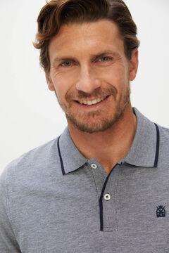 Cortefiel Oxford fabric short-sleeved polo shirt Navy