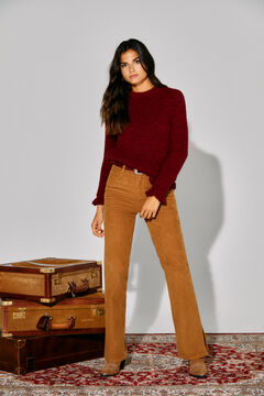 Cortefiel Sustainable jumper with ruffles Red