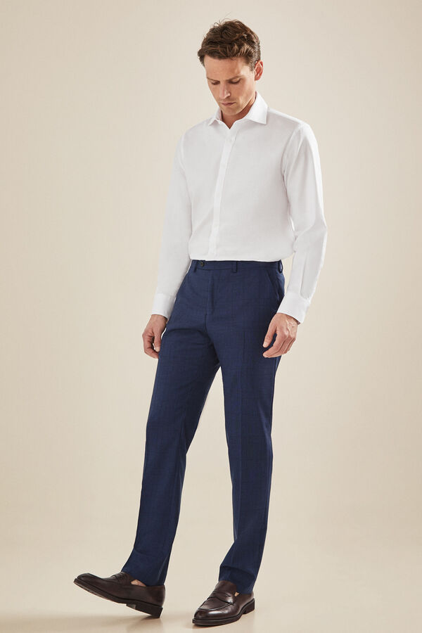 4f36a099c90c0 Cortefiel Pantalón traje cuadro gales tailored fit Azul