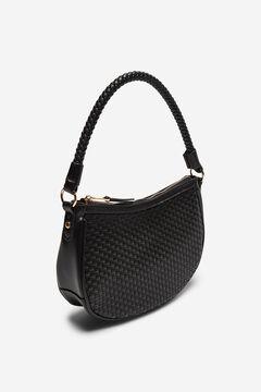 Cortefiel Braided shoulder hobo bag Black