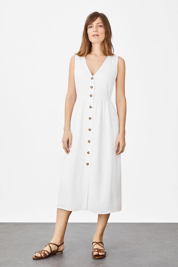 0cdf55f6a3 Cortefiel Vestido largo sin mangas Blanco