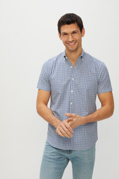 Cortefiel Gingham short-sleeved shirt Navy