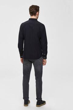 Cortefiel Classic Oxford shirt pocket Black