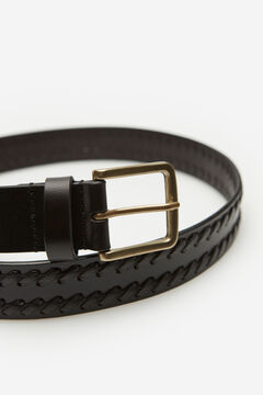 Cortefiel Woven leather strap belt Black