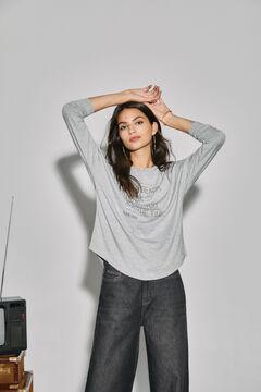 Cortefiel Long-sleeved T-shirt Gray