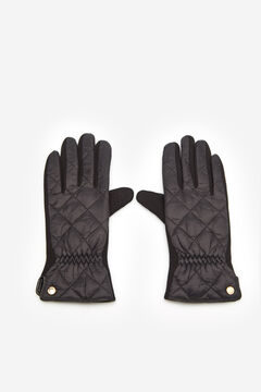 Cortefiel Padded glove with gold slash Black