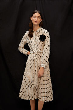 Cortefiel Tie neck polka-dot dress Gray