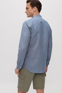 Cortefiel Camisa cuello mao algodón lino Azul