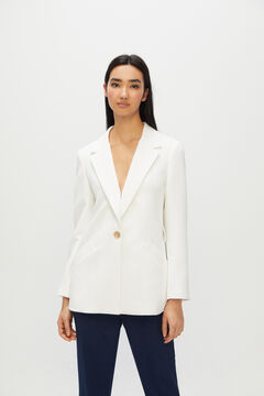 Cortefiel Double-breasted blazer with belt White
