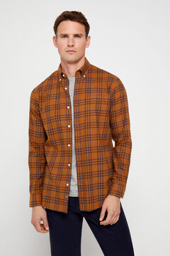 Cortefiel Casual checked organic cotton shirt Yellow