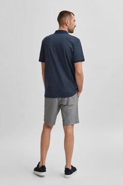 Cortefiel Printed short-sleeved polo shirt Royal blue