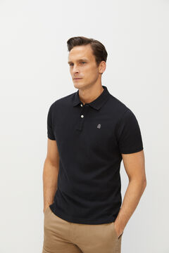 Cortefiel Essential slim fit short-sleeved polo shirt Black