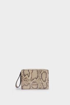 Cortefiel Compact animal print wallet Stone