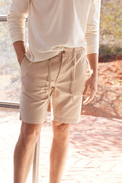 Cortefiel Cotton and linen Bermuda shorts with elasticated drawstring waist Mink