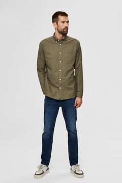 Cortefiel Classic organic cotton shirt with pocket Pistachio green