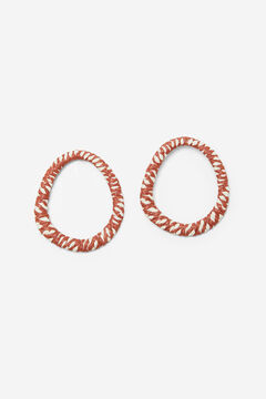Cortefiel Raffia covered flat hoop earrings Stone