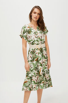 Cortefiel Printed midi dress Ecru