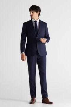 Cortefiel Slim fit checked blazer Royal blue