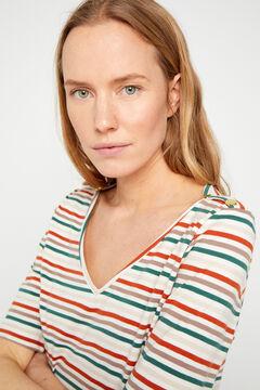 Cortefiel T-shirt básica com decote em bico de algodão orgânico Marrom