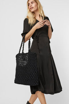 Cortefiel Plaited knot bag Black