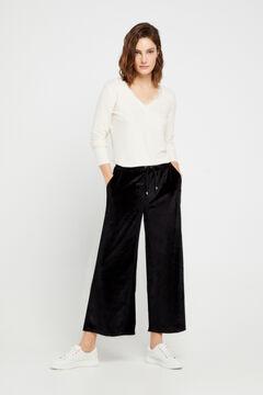 Cortefiel Wide leg cropped velvet trousers Black