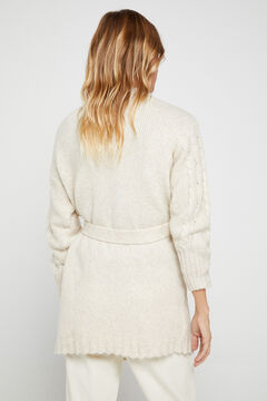 Cortefiel Cable knit belted cardigan Ecru