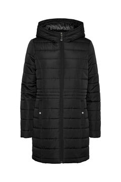 Cortefiel Long quilted coat with hood Black