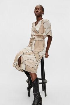Cortefiel Vestido camisero geométrico Gris