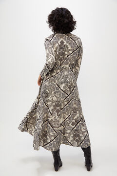 Cortefiel Long printed dress with metallic thread Gray