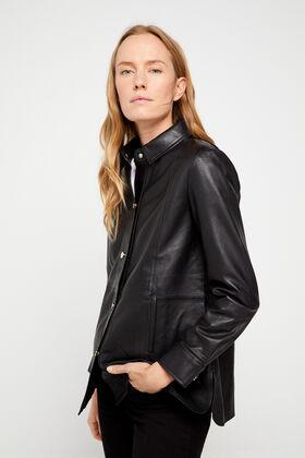 Cortefiel Black leather over garment Black