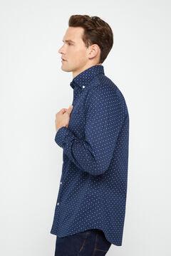 Cortefiel Printed twill shirt Navy