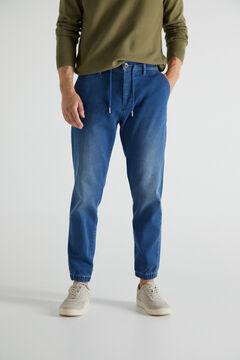 Cortefiel Medium weight jersey-knit jogger trousers Royal blue