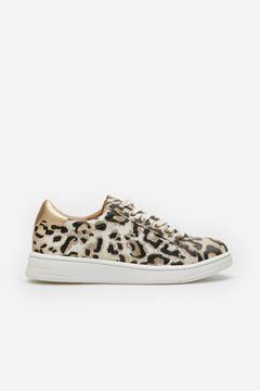 Cortefiel Zapatilla deportiva ultra ligera estampado leopardo Marfil