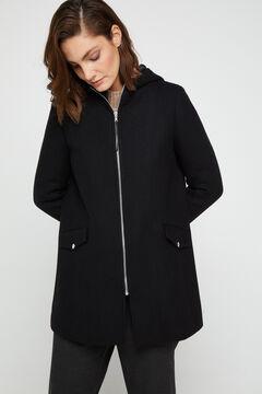 Cortefiel Zipped A-line coat Black