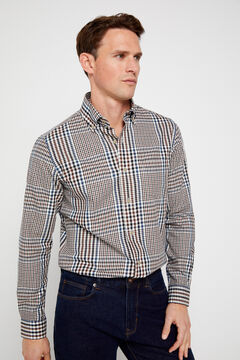 Cortefiel Checked twill shirt Vanilla
