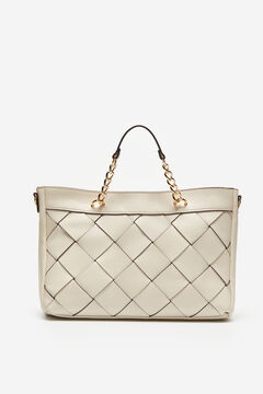 Cortefiel XL woven shopper bag White