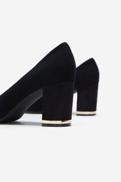 Cortefiel Leather court shoe Black