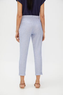 Cortefiel Belted linen trousers Navy
