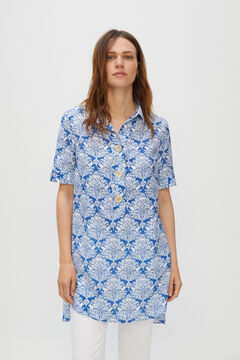 Cortefiel Comfort shirt with tabs Blue