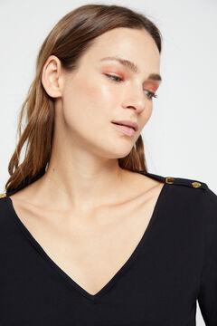 Cortefiel Essential organic cotton V-neck t-shirt Black
