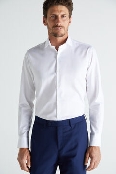 Cortefiel Textured slim fit stain resistant dress shirt White