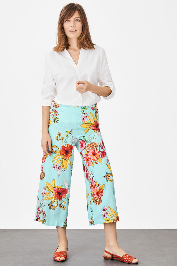b4d8fb83c Cortefiel Straight cropped printed trousers Blue