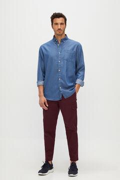 Cortefiel Denim pocket shirt Royal blue