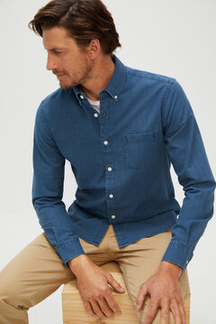 Cortefiel Checked organic cotton denim shirt Royal blue