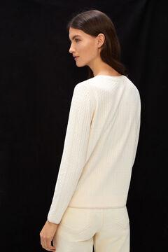 Cortefiel Cross-knit jacket Ecru