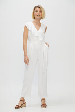 Cortefiel Crossover flounced jumpsuit White