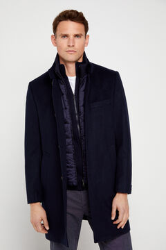 Cortefiel Coat with stand-up collar and removable lining Navy