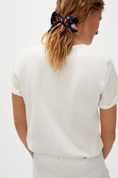 Cortefiel T-shirt with pocket and headscarf Ecru