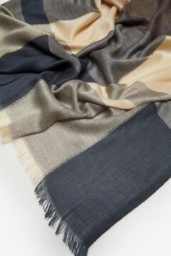 Cortefiel Checked lurex scarf Navy