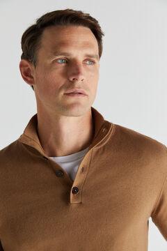 Cortefiel Cotton/cashmere trucker neck jumper Vanilla
